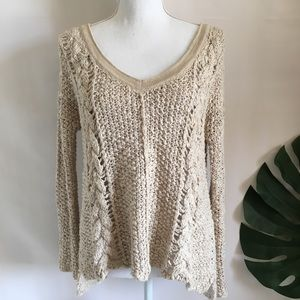 Free People pullover knit tan v neck sweater